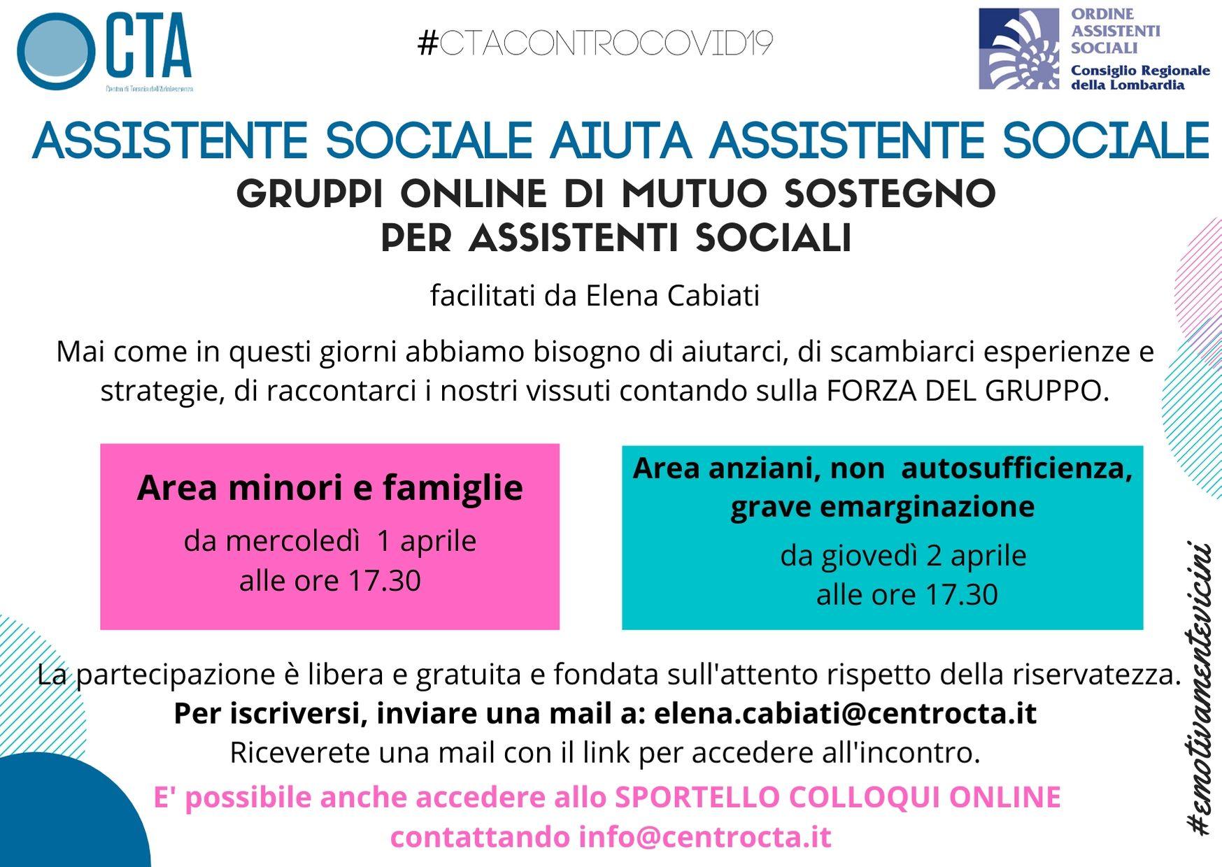 Assistente sociale aiuta assistente sociale – gruppi online di mutuo sostegno CTA