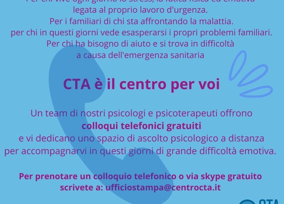 Colloqui psicologici gratuiti – CTA contro Covid-19