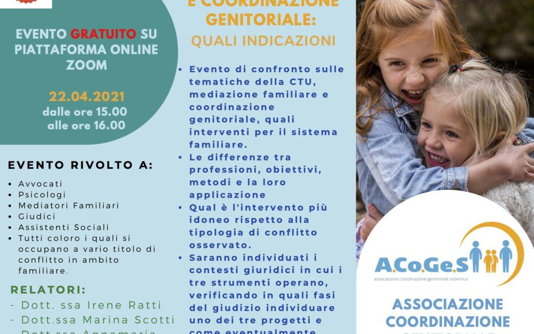 CTU, Mediazione e coordinazione genitoriale: quali indicazioni – evento gratuito proposto da Acoges